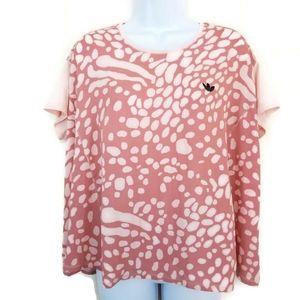 Adidas Pink Animal Print Boxy Trefoil Carib Top